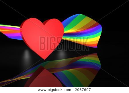 Red Heart Wiith Rainbow Flag
