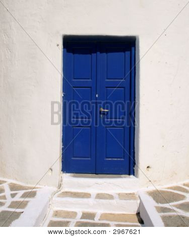 Typical Greek Blue Door- Paros Island, Greece
