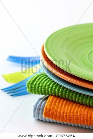 colorful plate  and napkins for picnics