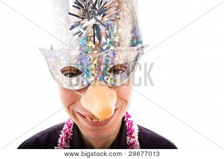 Funny Ugly Man With Party Mask Smiling