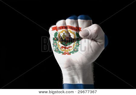 Fist Painted In Colors Of Us State Of West Virginia Flag