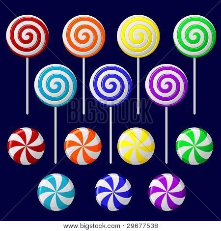 Delicious colorful lollipop collection