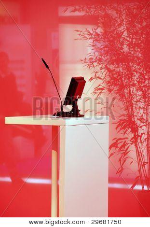 Empty speaker podium