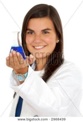 Female Doctor Using Test Tubes