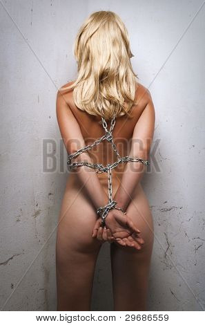 beauty woman bondage in angle of room