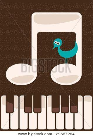 Musical illustration with little bird. Vector illustration.
