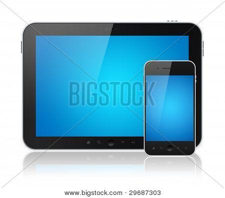 Digital Tablet PC com o telemóvel inteligente isolado