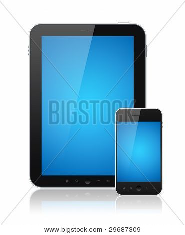 Digital TabletPC mit mobile Smartphone isoliert