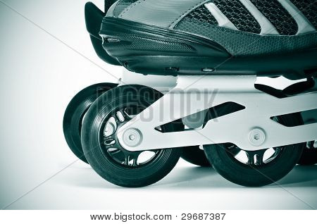 closeup of a pair of inline skates