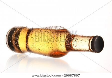Beer bottle with water drops