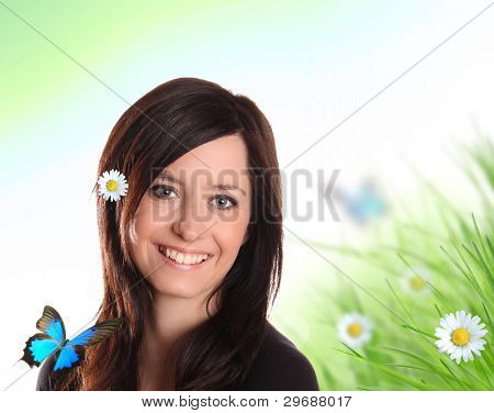 Young pretty girl in spring nature