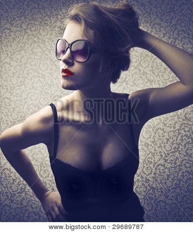 Beautiful elegant woman with red lipstick