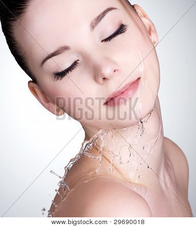 Face Of Woman With Water Drops On The Face