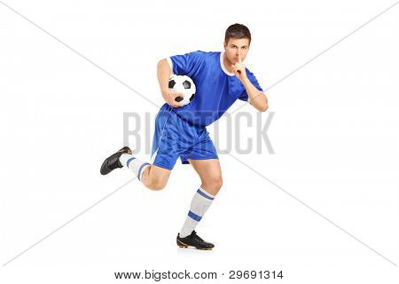 A soccer player running and gesturing silence isolated on white background