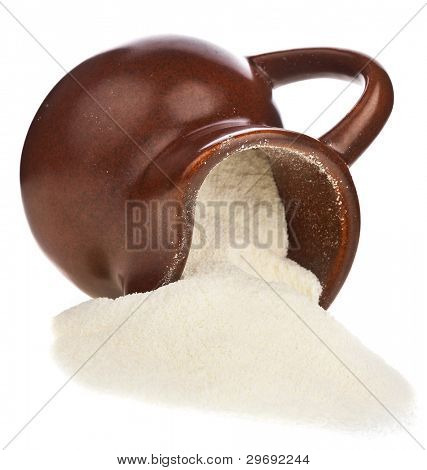 dairy product , milk powder drink in clay pitcher Isolated on white background