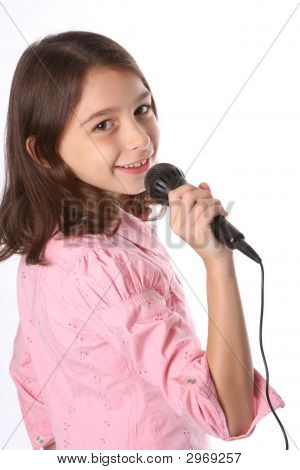 Young Girl / Child Singing In Microphone