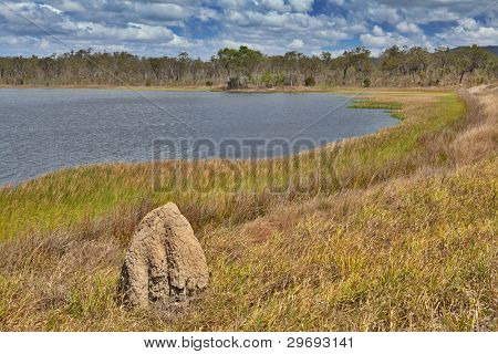 wetlands billabong Australian swamp lake Queensland Australia panorama landscape wilderness hike termite hill