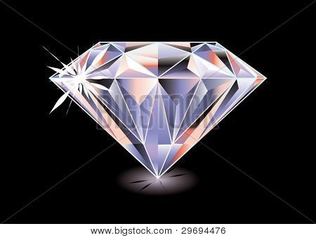 Artistic brightly coloured cut diamond with shadow and reflection on black background