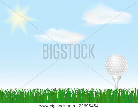 Golf ball on tee on green grass under sky with clouds and sun
