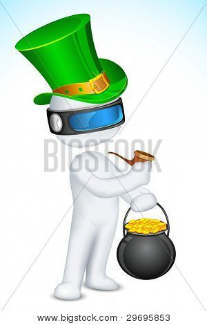 illustration of 3d man in vector fully scalable wearing saint patrick hat