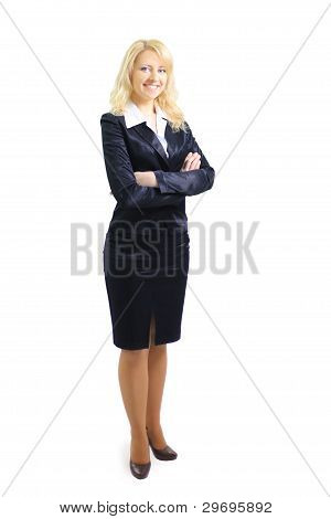 confident business woman standing wearing elegant clothes
