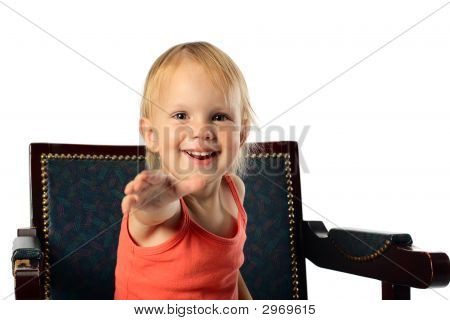 Little Girl Offer Hand To Audience