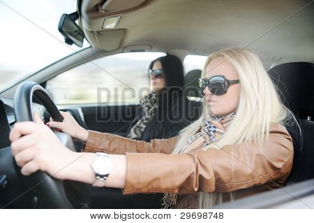 Young handsome blonde female and her girlfriend in a car