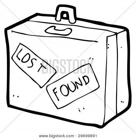 lost and found sticker luggage cartoon (raster version)