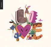 Dessert Font - Modern Flat Vector Concept Digital Illustration Of Temptation Font, Sweet Lettering A poster