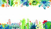 Rectangular Frame With Different Cactuses And Succulents On Top And Bottom. Watercolor Hand Drawn Co poster