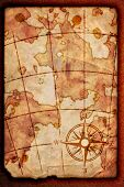 pic of treasure map  - old map with a compass on it - JPG