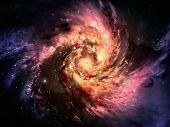 stock photo of bulge  - spiral galaxy in a dark space - JPG