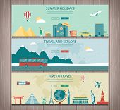 Travel Composition With World Landmarks And Travel Equipment. Travel And Tourism. Concept Website Te poster