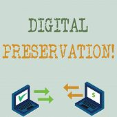 Conceptual Hand Writing Showing Digital Preservation. Business Photo Showcasing Ensuring Access To D poster