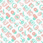 Allergy Seamless Pattern With Thin Line Icons: Runny Nose, Dust, Streaming Eyes, Lactose Intolerance poster
