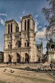 PARIS, FRANCE, MARCH 02 2015: Notre Dame de Paris along the la Seine river in Paris, France. poster