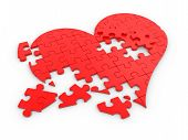 stock photo of love hurts  - Red puzzle  - JPG