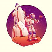 Astronaut Making Selfie On Moon. Spacemen In Space Suit Giving Peace Or Victory Sign On Rocket Backg poster