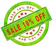 sale 10% off red text on green sales on online web shop internet shopping icon or button
