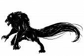 stock photo of wolf moon  - Hand drawn vector wolf character design in black and white - JPG