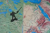 image of north sudan  - Toy soldier on map that focus to moscow and sudan - JPG