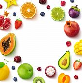 Various Fruits And Berries Isolated On White Background, Top View, Creative Flat Layout, Round Frame poster
