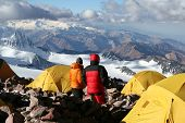 pic of aconcagua  - Alpine climbers acclimating at camp two of Aconcagua - JPG