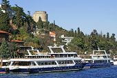 Two Pleasure Boats Near Rumeli Fortress, Istanbul, Turkey