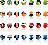 stock photo of geometric shapes  - Round geometric shapes and various graphic design elements - JPG