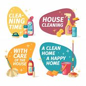 Set Design Banner House Cleaning With Cleaning Products. Cartoon Illustration Household Chemicals. T poster