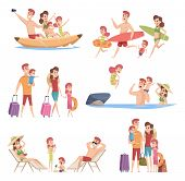 Summer Travellers. Happy Love Couple With Childrens Beach Walking Vacation Trip Outdoor Adventure Ve poster