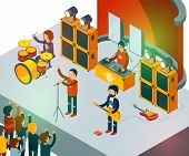 Concert Scene. Isometric Rock Band Singing People Entertainment Crowd Vector Concept. Rock Band On S poster
