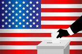 foto of voting  - A vector illustration of a voting man inserting his ballot into the ballot box - JPG