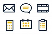 Mail, comment, media, calculator, calendar and tasks. Icons are aligned according to the pixel grid.